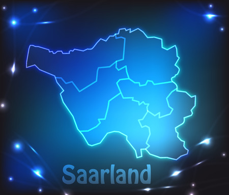 saarlouis: Map of Saarland with borders with bright colors