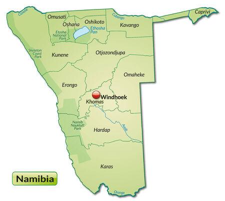 kalahari desert: Map of Namibia with borders in pastel green
