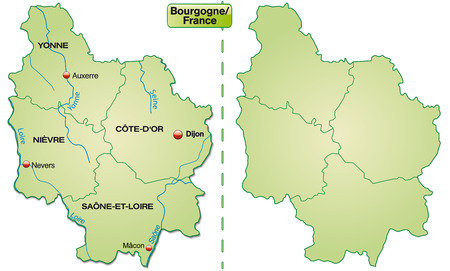 sur: Map of Burgundy with borders in pastel green Illustration
