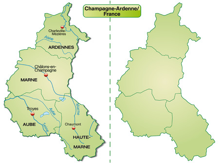 reims: Map of Champagne-Ardenne with borders in pastel green Illustration