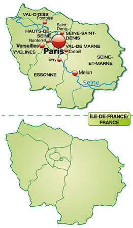 Map of Ile-de-France with borders in pastel green