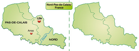 sur: Map of North-pas-de-calais with borders in pastel green