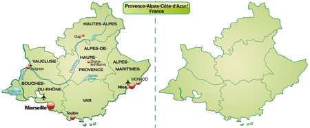 d���azur: Map of Provence-Alpes-Cote d Azur with borders in pastel green