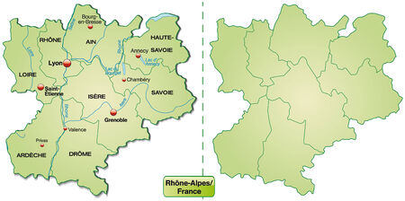 rhone: Map of Rhone-Alpes with borders in pastel green