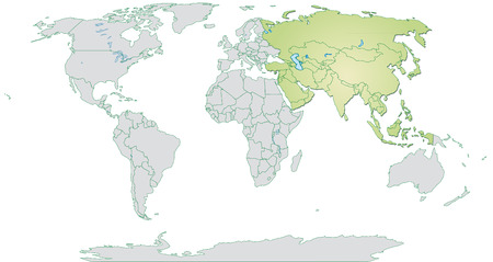 yerevan: Map of Asia with borders in pastel green