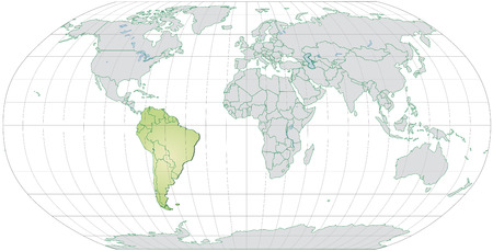 georgetown: Map of South America with borders in pastel green