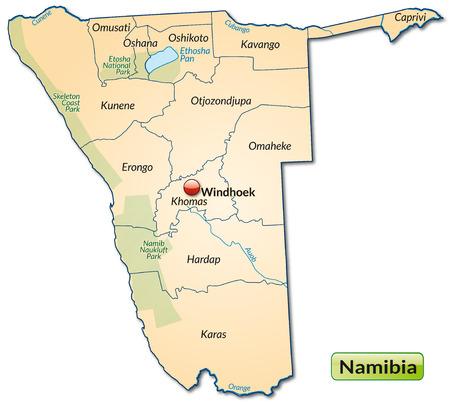kalahari desert: Map of Namibia with borders in pastel orange