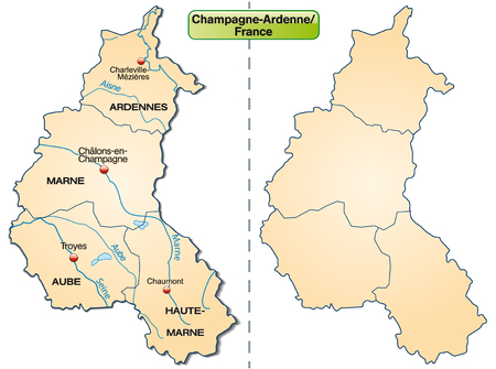reims: Map of Champagne-Ardenne with borders in pastel orange