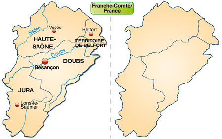 orange county: Map of Franche-Comte with borders in pastel orange