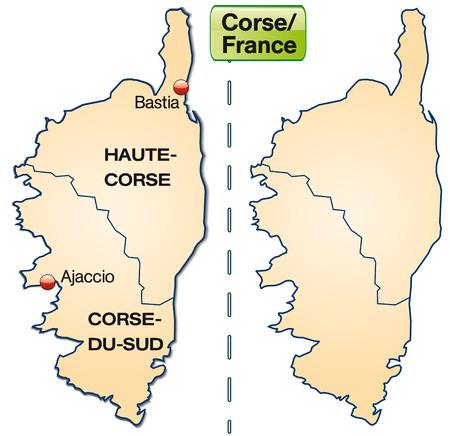 ajaccio: Map of corsica with borders in pastel orange Illustration