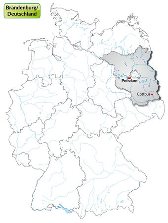 Map of Brandenburg with main cities in gray Vector