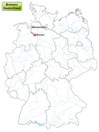 Map of Bremen with main cities in gray Vector