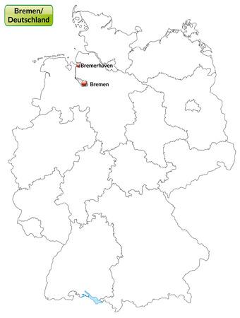 bremen: Map of Bremen with main cities in gray