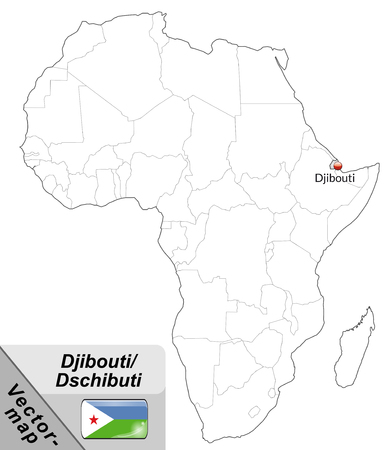 cartographer: Map of Djibouti with main cities in gray