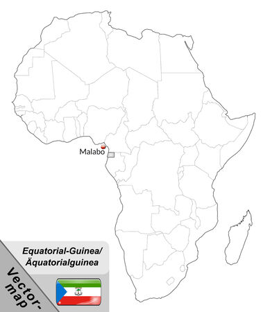 equatorial guinea: Map of Equatorial Guinea with main cities in gray