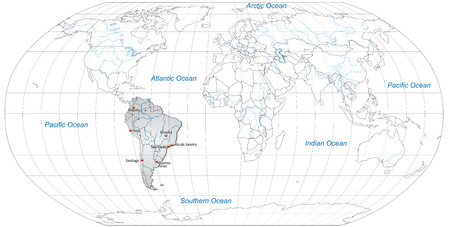 georgetown: Map of South America with main cities in gray