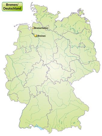 bremen: Map of Bremen with main cities in green