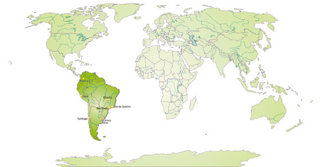 georgetown: Map of South America with main cities in green Illustration