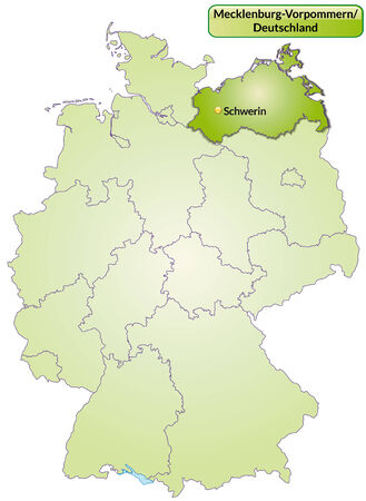 greifswald: Map of Mecklenburg-Western Pomerania with main cities in green