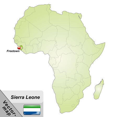 sierra: Map of sierra leone with main cities in green Illustration