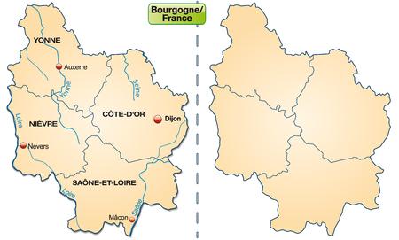 leu: Mappa di Borgogna con bordi a pastello arancione