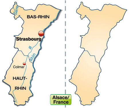 strasbourg: Map of Alsace with borders in pastel orange