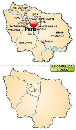 versailles   france: Map of Ile-de-France with borders in pastel orange Illustration