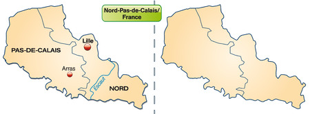 lille: Map of North-pas-de-calais with borders in pastel orange Illustration