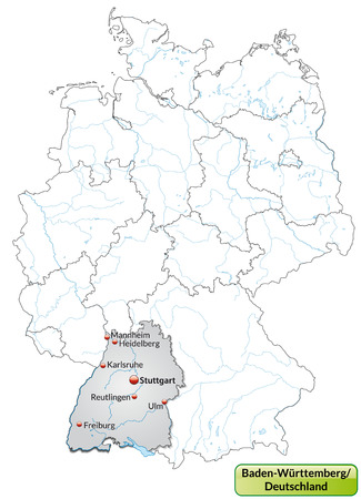 stuttgart: Map of Baden-Wuerttemberg with main cities in gray