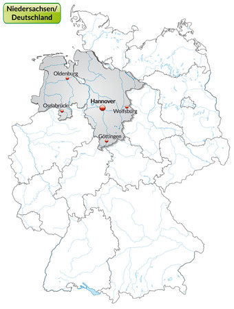 cartographer: Map of Lower Saxony with main cities in gray