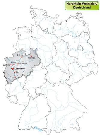north rhine westphalia: Map of North Rhine-Westphalia with main cities in gray