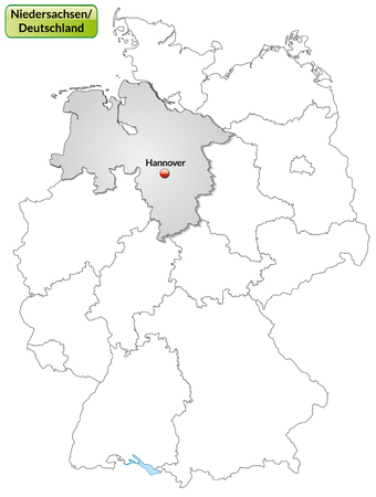 Map of Lower Saxony with main cities in gray Vector