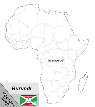 burundi: Map of burundi with main cities in gray