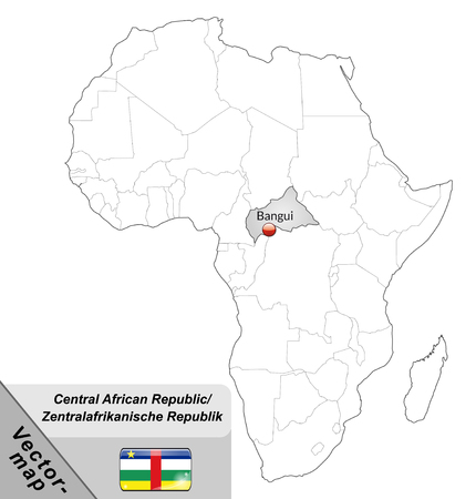 central african republic: Map of Central African Republic with main cities in gray Illustration