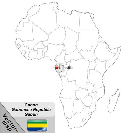 cartographer: Map of gabon with main cities in gray Illustration