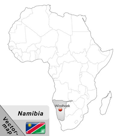 kalahari desert: Map of Namibia with main cities in gray