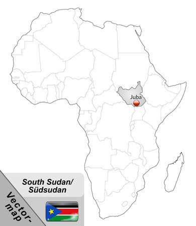 south sudan: Map of South Sudan with main cities in gray