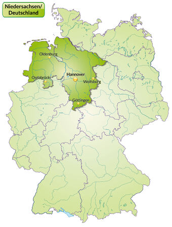 cartographer: Map of Lower Saxony with main cities in green
