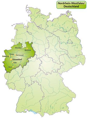 Mapa de Renania del Norte-Westfalia con las principales ciudades en verde Foto de archivo - 25146694