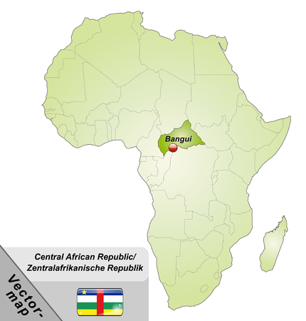 central african republic: Map of Central African Republic with main cities in green