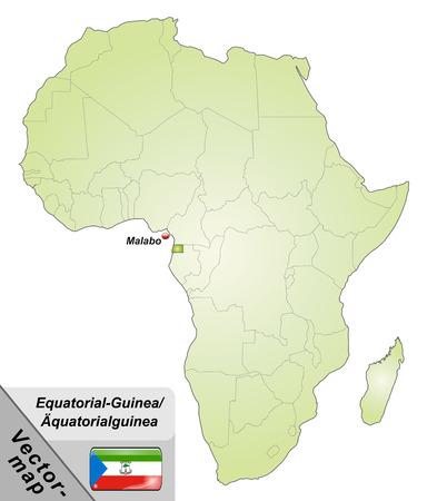 guinea equatoriale: Mappa della Guinea Equatoriale con le principali citt� in verde