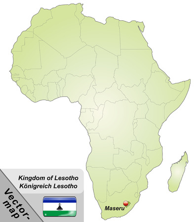 lesotho: Map of Lesotho with main cities in green