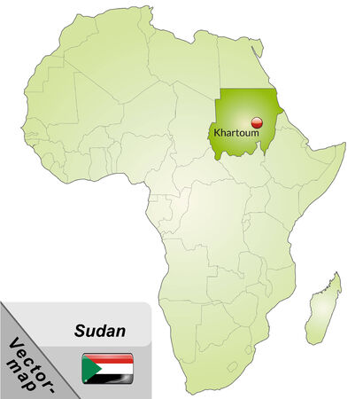 sudan: Map of sudan with main cities in green Illustration