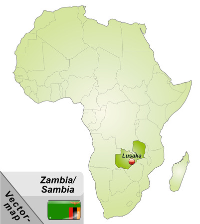 Map of Zambia with main cities in green