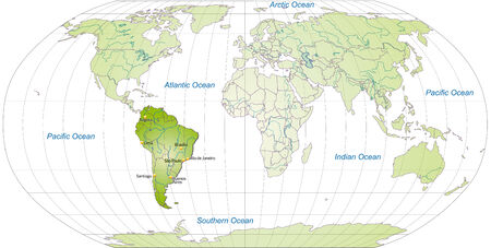 buenos: Map of South America with main cities in green Illustration