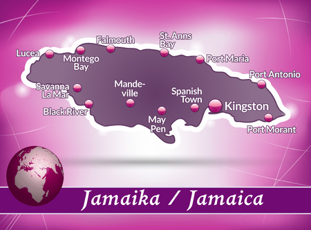 black maria: Map of Jamaica with abstract background in violet