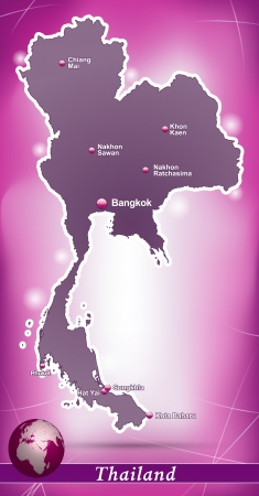 Map of Thailand with abstract background in violet Stock Illustratie