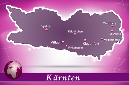 spittal: Map of kaernten with abstract background in violet