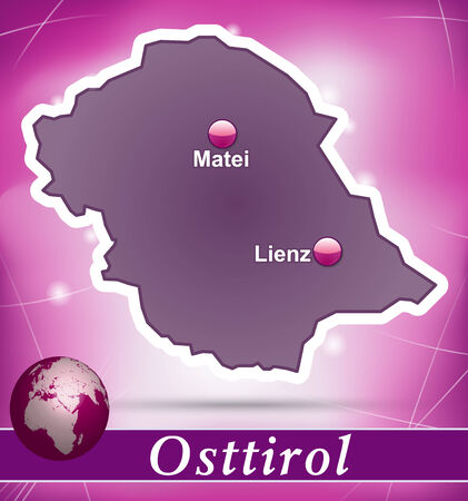 Map of East Tyrol with abstract background in violet Vector
