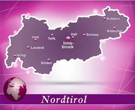 tirol: Map of tyrol with abstract background in violet Illustration